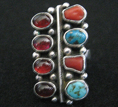 S Dickens Sterling Silver Turquoise And Coral Ring