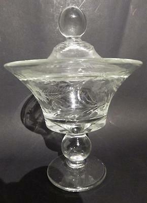 Vintage Paden City Covered Candy Dish Ball Stem & Knob Etches Flowers Estate