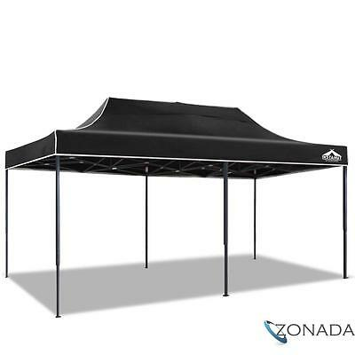 3x6m Pop up Garden Outdoor Gazebo Black Folding Marquee Tent Canopy Shade Party