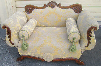 57608   Antique Victorian Oak Dropside Sofa Couch Loveseat Chaise Lounge