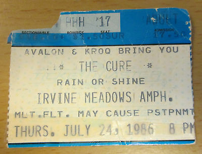 1986 The Cure Los Angeles Concert Ticket Stub Boys Don't Cry Robert Smith Push