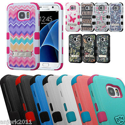 Hybrid Anti-Shock Impact Protection Dual Layer Hard Case w/Kickstand Skin Cover