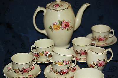 Royal Swan Made in England jug creamer sugar bowl cups saucers 13 piece set lot