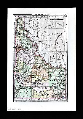 1896 Johnson Map  Idaho Boise City McKenzie Challis Moscow Bitter Root Mountains
