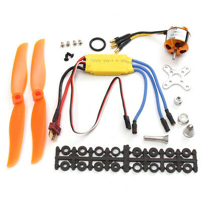 RC 2200KV Brushless Motor 2212-6 + 30A ESC + Propeller For RC Plane Helicopter