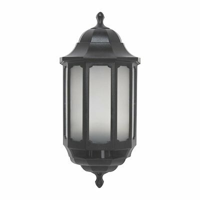 Black LED Half Lantern PIR Movement Motion Detector Sensor - Outside Wall Light