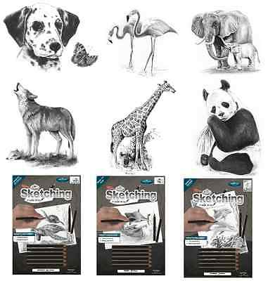 SKETCHING MADE EASY KITS DRAWING BOARD KITS & GRADED PENCILS 6 x ANIMAL DESIGNS