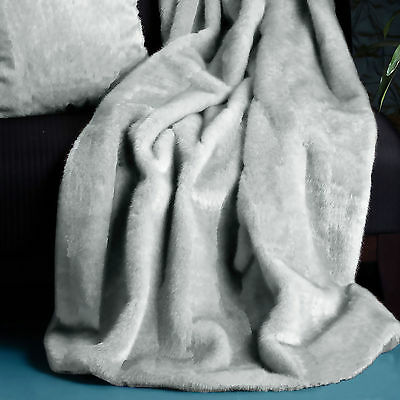 GREY - Extra Large Faux Mink Fur Winter Sofa Lounge Bed Throw Blanket Rug