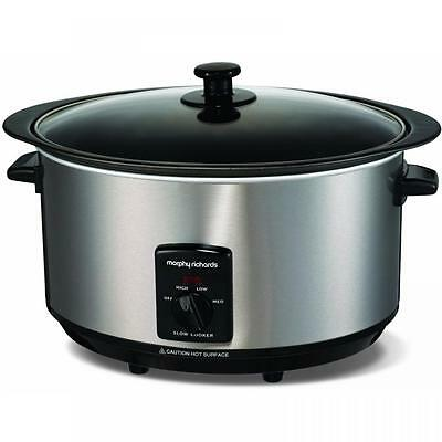 Morphy Richards Accents 6.5L Brushed Electric Sear And Stew Slow Cooker 48705