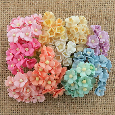 100 Miniature SWEETHEART BLOSSOMS Mulberry Paper Flowers - Weddings, Cardmaking