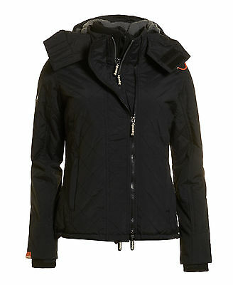 New Womens Superdry Hooded Sherpa Quilted Windcheater Black