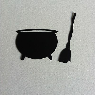 10 X Black Silhouette Witch's Cauldron & Broomstick Die Cut Shapes-Halloween