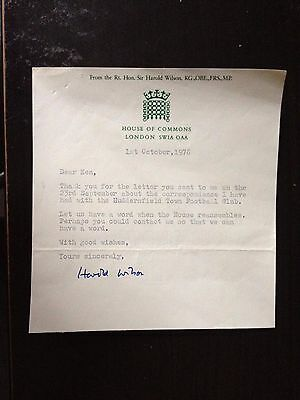 Harold Wilson - Former Prime Minister - One Page Typed Letter Signed