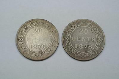 1870 & 1872 Newfoundland 20 Cent Coins, Good/VG Conditions - C2553