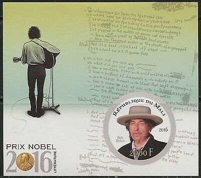 Mali Nobel Prize Winners Literature 2016 Bob Dylan Imperforate  S/s  Mint Nh