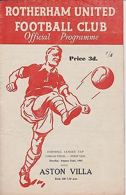 ROTHERHAM UNITED v ASTON VILLA 60-61 LEAGUE CUP FINAL 1st EVER LEAGUE CUP FINAL
