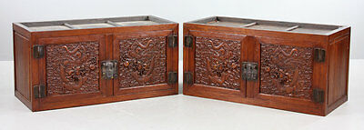 Antique Large Pair Chinese Hardwood Hand Carved Dragon Ruyi Chest Cabinets