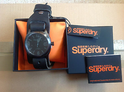 SUPERDRY WATCH - BLACK with WIDE LEATHER STRAP - SYG101BB - NEW With TAGS & BOX