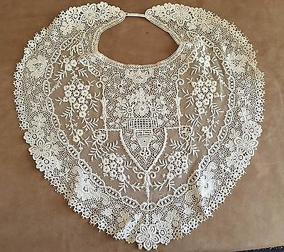 "Antique Lace Collar 14"" Floral gown dress Edwardian victorian wedding"