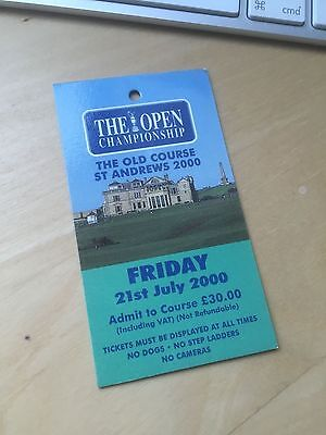 Golf British Open Championship badge Ticket 2000 St Andrews Tiger Woods