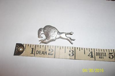 Large Navajo Sterling Silver Bison Buffalo brooch  pin charging
