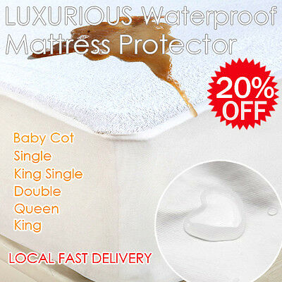 Fitted Waterproof Terry Cover Mattress Protector Cot/Single/Double/Queen/King