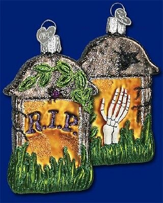 TOMBSTONE RIP Skeleton Hand Halloween Ornament Old World Christmas  NEW IN BOX