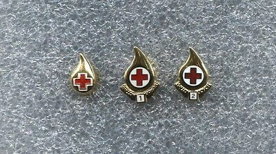 RED CROSS BLOOD DONOR  GOLD - 1 -2 GALLON PINS (3 total)