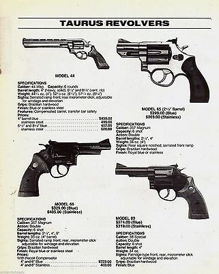 1996 TAURUS Model 44. 65. 66. 83 REVOLVER AD w/ specs, original prices