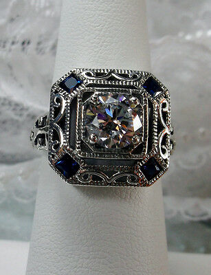 *Sapphire* & White Gem Deco 1930's Sterling Silver Filigree Ring {Made To Order}