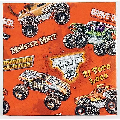 Monster Jam Trucks Party Supplies Pack Of 20 Small Beverage Napkins Serviettes