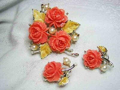 Vintage Carved Coral Celluloid Rose Brooch & Earrings