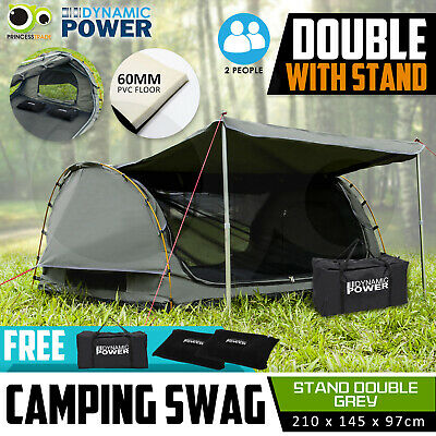 Free Standing DOUBLE Outdoor Camping Canvas Swag Aluminium Poles Tent Grey