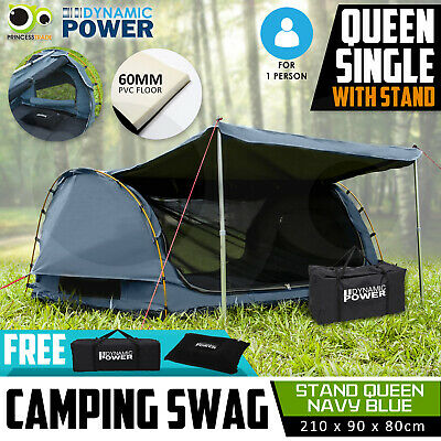 Free Standing Queen SINGLE Outdoor Camping Canvas Swag Aluminium Poles Tent