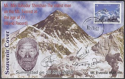 NEPAL OLDEST PERSON ON Mt. EVEREST EXPEDITION SIGNED WORLD RECORD COVER
