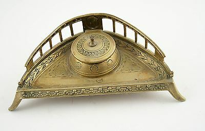 Ink  Well Inkwell Bronze Antique French Pen Inkstand 19th Desk Hand Painted