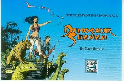 Mark Schultz Postcard: Dinosaur Shaman cover (USA, 1992)