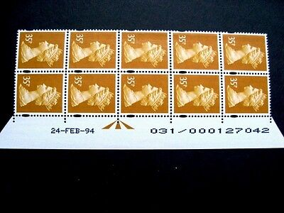 Enschede.35p.Warrant/Date block of 10.U347b.Right.Superb MNH.Unfolded.
