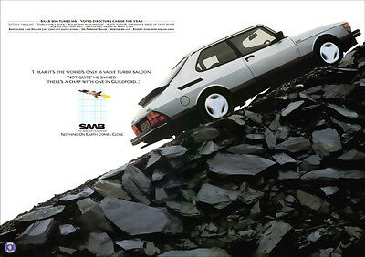 Saab 900 Turbo 16S Retro A3 Poster Print From Classic 80's Advert