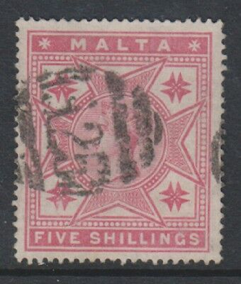 Malta - 1886, 5s Rose stamp - Wmk Mult Crown CA - Perf 14 - G/U - SG 30