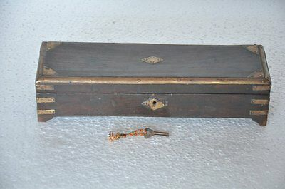 Old Wooden Brass Fitted Rectangular Shape 3 Compartments Pen/Pencil Box
