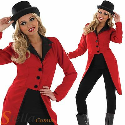 Ladies Circus Ringmaster Jacket Lion Tamer Fancy Dress Costume Womens Outfit