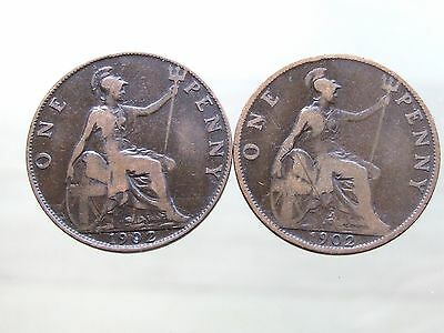 1902 Edward VII LOW & HIGH TIDE Pennies - Nice Condition - FREE POSTAGE (A92)
