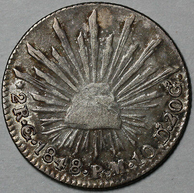 1848/7-Go Mexico Silver CAP & RAYS 2 reales (16070504R)