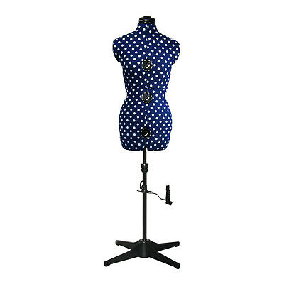 NEW | Adjustoform Navy Polka Dot 8-Part Adjustable Dressmaker's Dummy UK 16-20