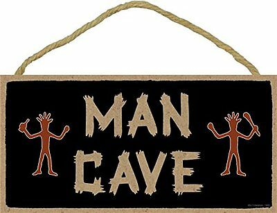 """5"""" X 10"""" MAN CAVE WOOD PLAQUE Wall Hanging Funny Sign Gift NEW"""