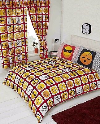 Red Icons Smiley Emoji Design Duvet Set In Single Double King Size Or Curtains