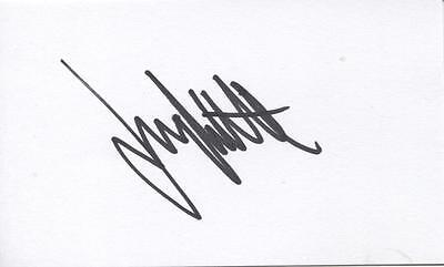 A 5 x 3 inch white card. Personally signed by Snooker player Jimmy White.
