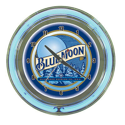 Blue Moon Beer Logo Sign 2 Ring Blue/White Neon Clock - AWESOME!