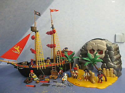 4424 Piratenschiff + 4443 Piraten Insel Palmen kanonen v Figuren Playmobil 8519